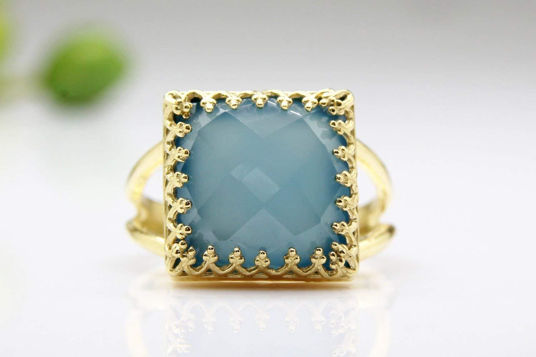 gold ring,chalcedony ring,blue ring,square gemstone ring,custom rings,bridal ring,vintage ring,prong ring