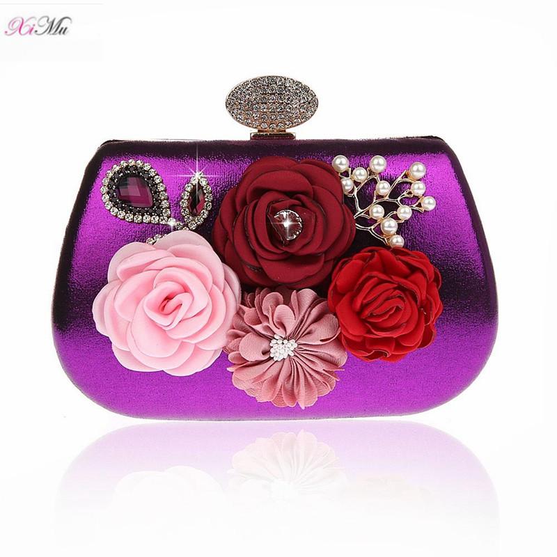 a231ee55f71 Women's Floral Rose Flower Beaded Design Wedding Purse Evening Clutch Bags  - Purple
