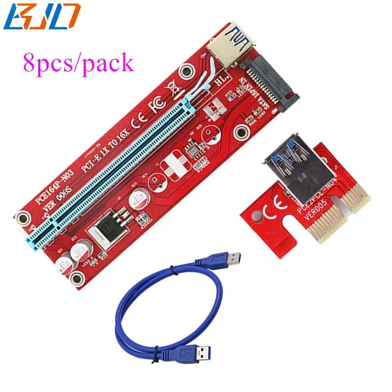 Wholesale High Quality VER 008s PCI-E 1x to 16x Riser Card PCIe riser - GPU risers in stock 8pcs / Pack