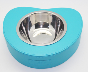 BOSHIHO High Quality PU Heart-shaped Style Stainless Steel Pet Bowl Customized Logo Pet Food Bowl