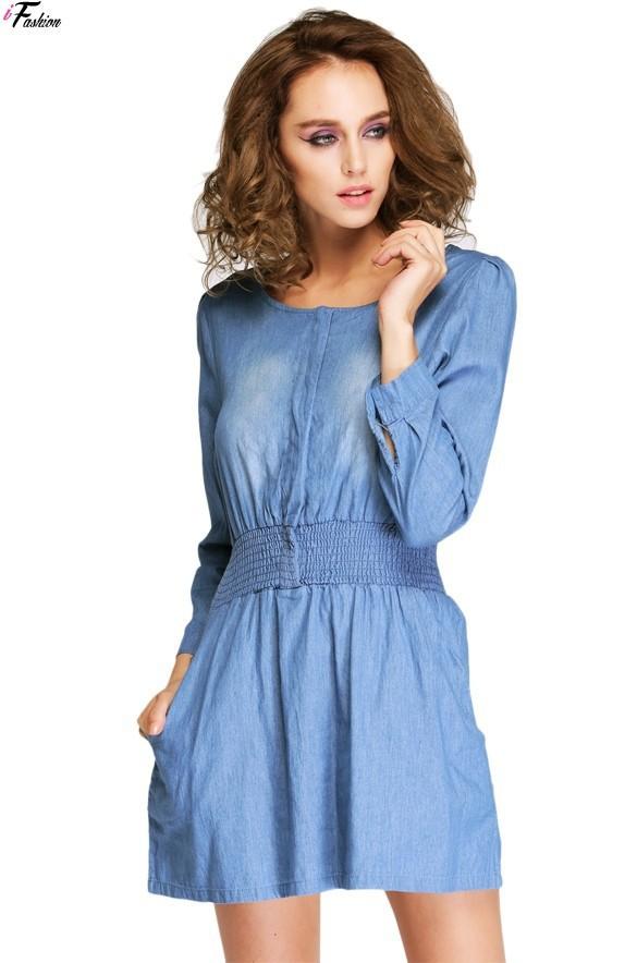 42e485a48 Get Quotations · Women s Long Sleeve Denim Dress Casual Slim Elastic Waist  Female Mini Blue Jean Plus Size Vaquero