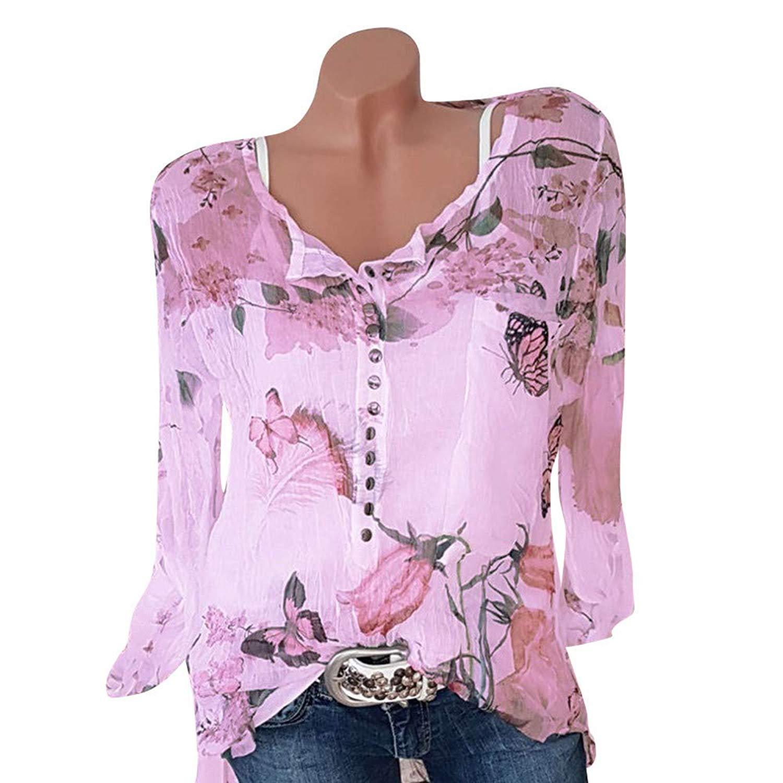 Women Casual Floral Printed Beach Blouse Button T-Shirt Chiffon Irregular Hem Top Plue Size