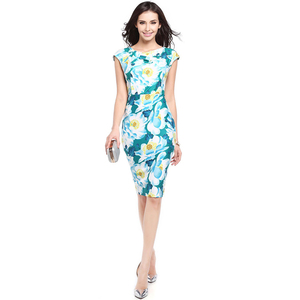 Women Print Floral Pencil Dress Summer Elegant Bodycon Green O Neck Work Office Party Wear Dresses For Women Clothing