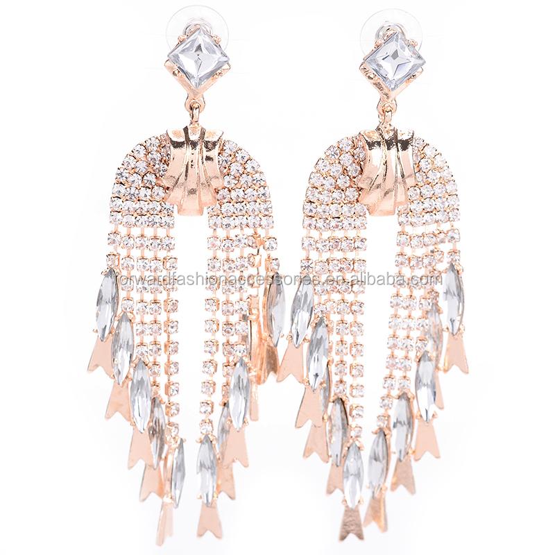 7929f5945137 Nueva colección venta caliente de cristal de piedras preciosas borla  pendiente para las mujeres