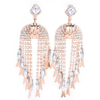 new collection hot selling crystal gemstones tassel earring for women