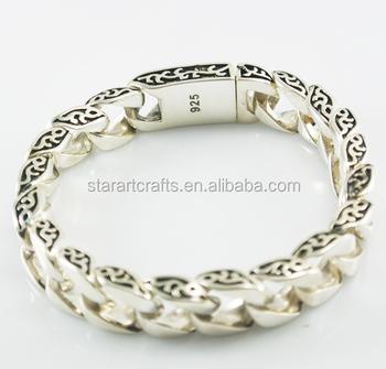 8c0cf8ce9b43 925 sólida plata esterlina joyería pulsera cadena pesada china por mayor  B107
