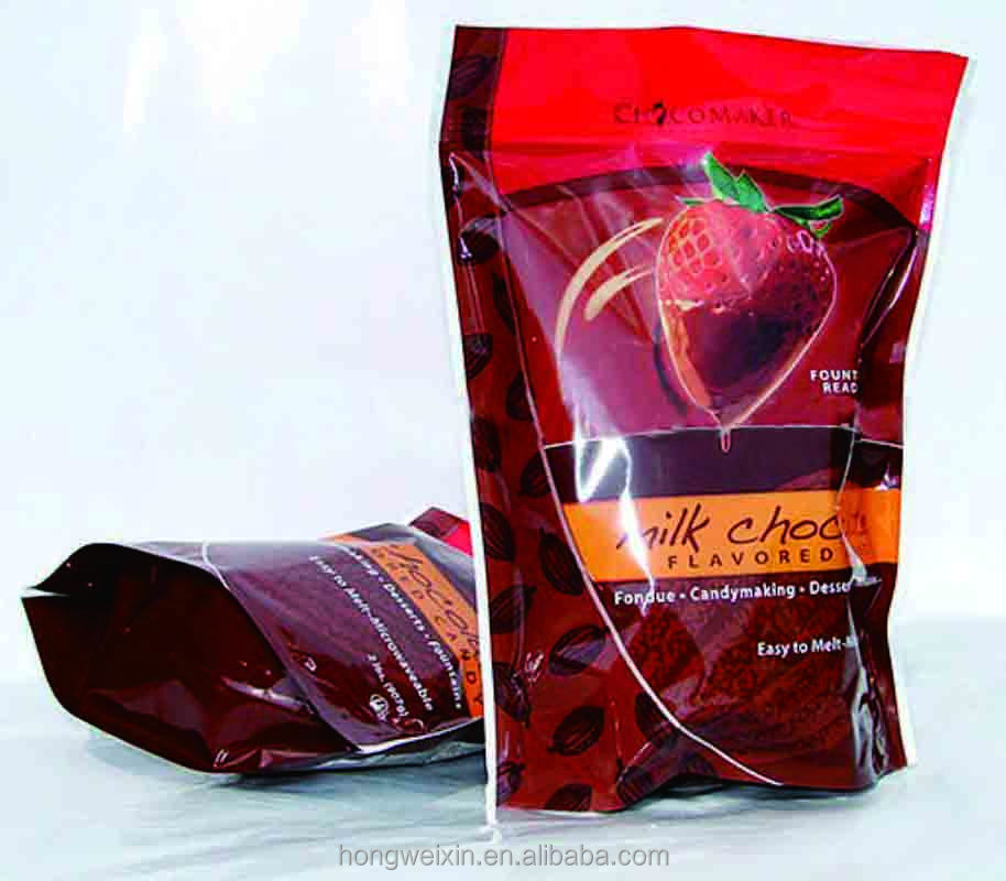plastic food packaging heat sealable bag,stand up pouch with zipper for strawberry