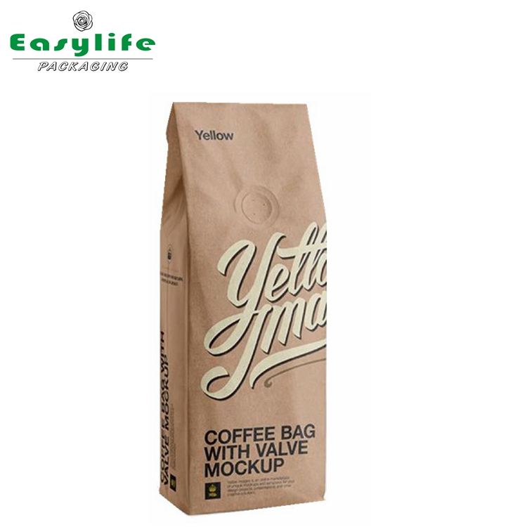 Kraft paper metalized stand up foil lined coffee pouch with valve
