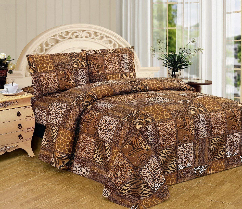 Fancy Linen 3pc Black Brown Leopard Zebra Snake Skin Twin Set Animal Print New