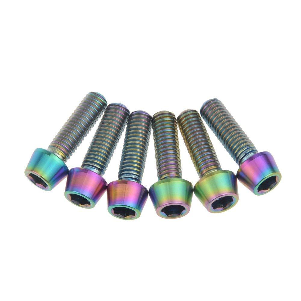 Wanyifa Titanium Ti Bolt Screw M5 x 16mm Taper Head Conical Head Rainbow Finish pack of 6