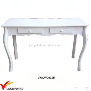 Antique White Wood Console Table with 2 Drawers
