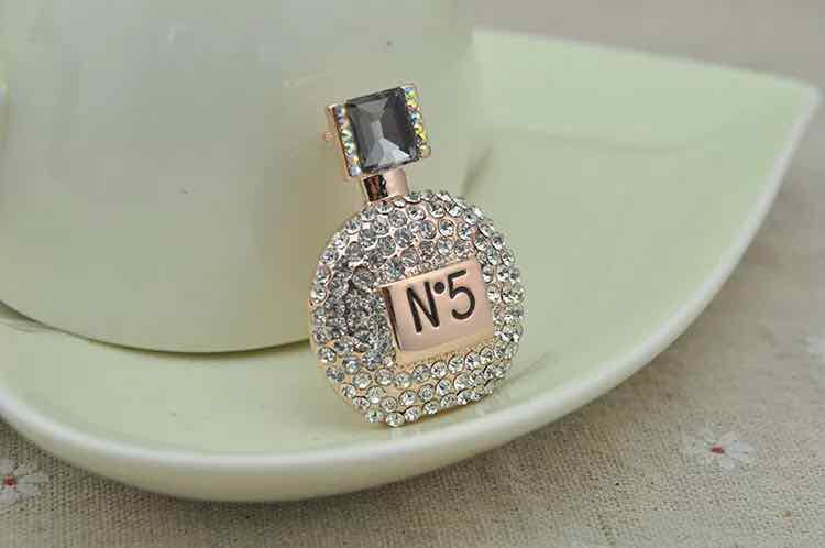 fashion perfume bottle rhinestone brooch