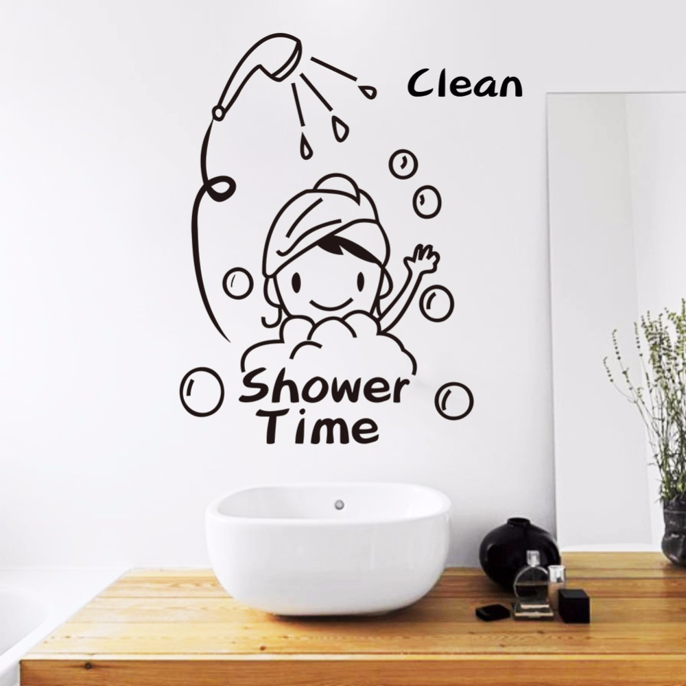 Cute Cartoon Character Wall Stickers Home Decoration Waterproof Toilet Sticker Bathroom Home Decor Shower Time Vinyl Wall Decals