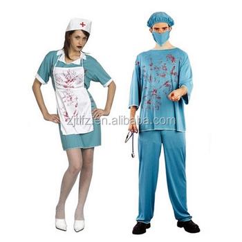 Halloween Women Bloody Zombie Nurse Fancy Dress Costume Man Doctor