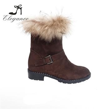 1b29be8fa Nova Chegada Feminina Inverno Senhora Vaca Marrom de Camurça Bota de Cano  Curto Ankle Boots de