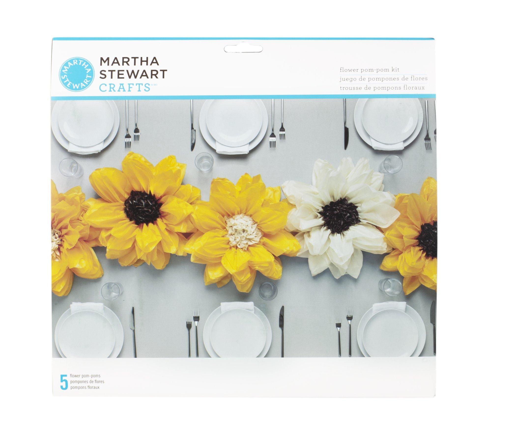 Martha Stewart Crafts 44-10220 Tissue Pom-Pom Kit, Black-Eyed Susan Flowers, Yellow