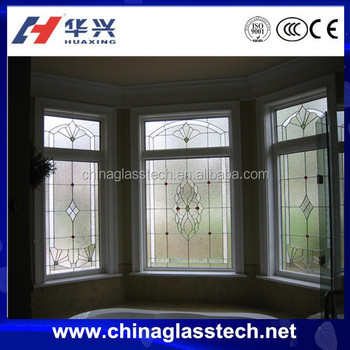 ce standard size customized aluminum frame stained glass window