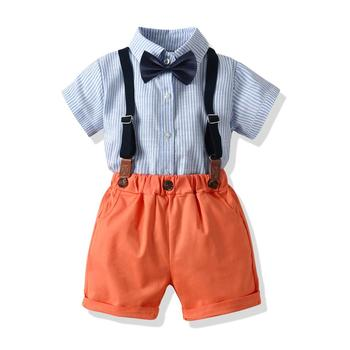Baby Bow Tie Boutique Outfit Gentleman 2019 New Product 100% Cotton Fabric Boy Clothes Set