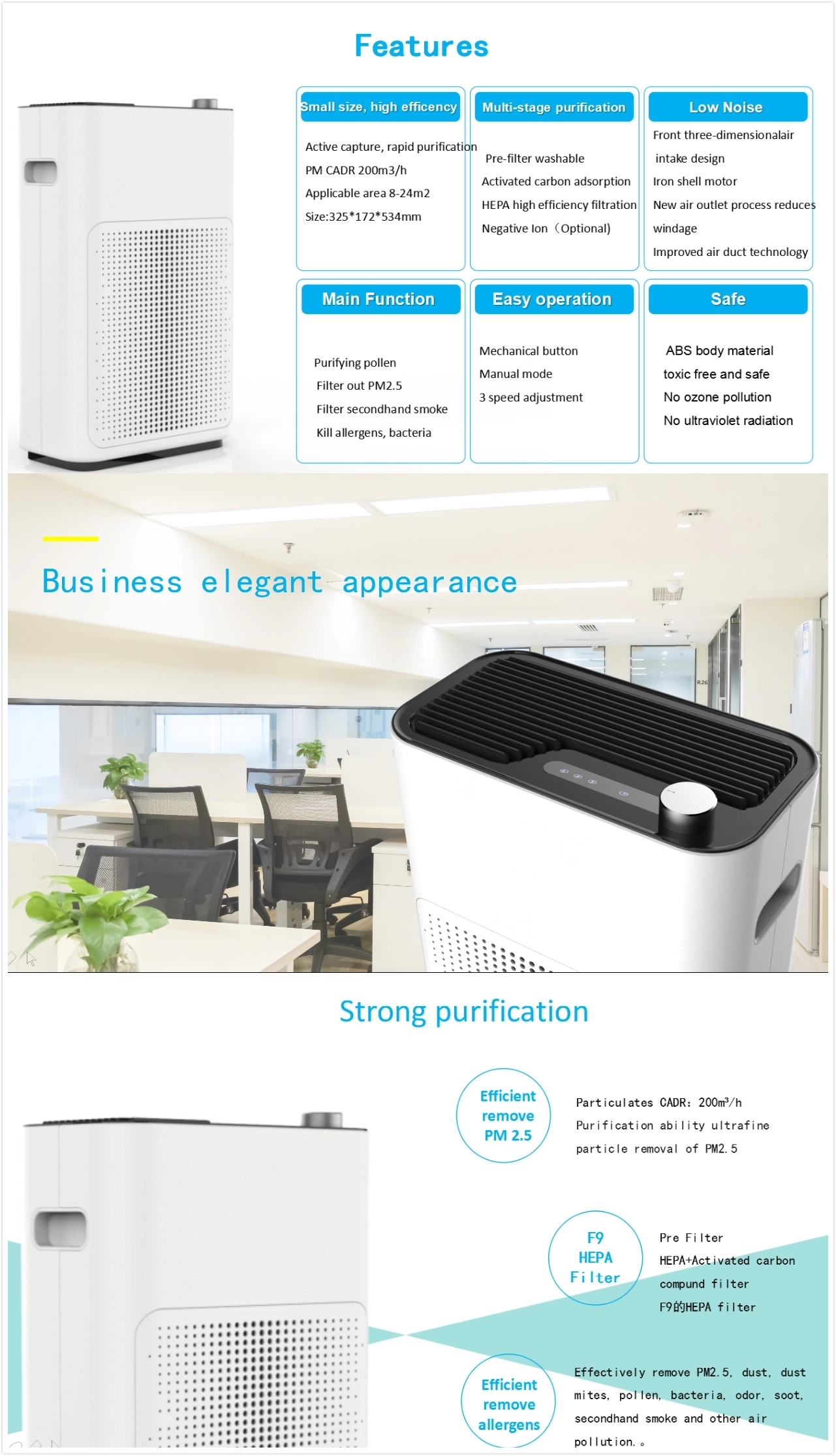 Portable Small Negative Ion Hepa Filter Air Cleaner China Manufacturer European Air Purifier