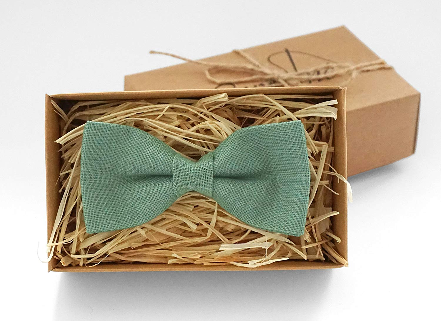 Bow Tie in Sage Green Irish Linen Adult Boy/'s Sizes /& Pocket Squares available