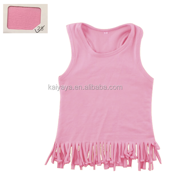 Girls Clothing Wholesale Children Pink Clothes Solid Color Sleeveless Toddler Ruffle Shirt Baby Girls Shirt