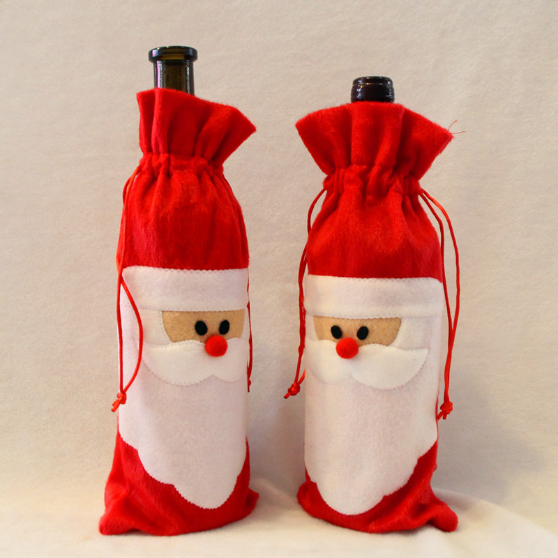 Hot Red Wine Bottle Cover Bags Christmas Dinner Table Decoration Home Party Decors Santa Claus Christmas Supplier Free Shipping