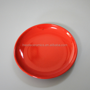 [ZIBO HAODE CERAMIC]red glazed wholesale customized logo design ceramic plates