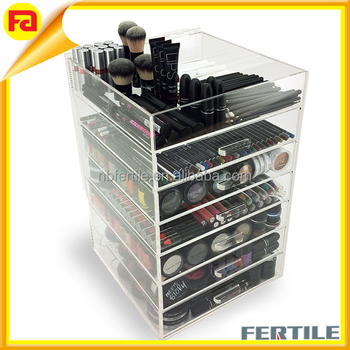 New! Large Makeup Organizer - Acrylic 7 Tier Drawer Cosmetic ...