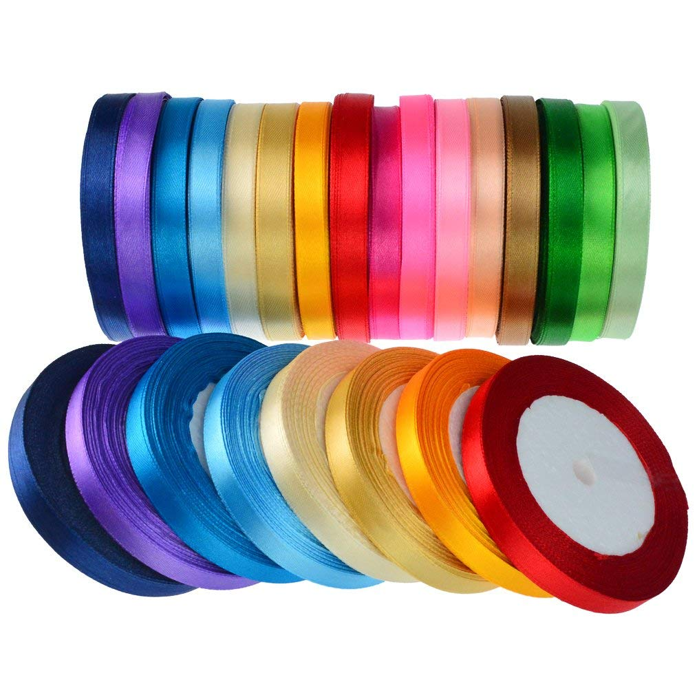 16 Colors 800 Yard Satin Ribbons, baotongle Fabric Ribbon Silk Satin Roll Satin Ribbon Rolls, Satin Ribbon Fabric Ribbon Embellish Ribbon Ribbon for Bows Crafts Gifts Party Wedding 32 Rolls