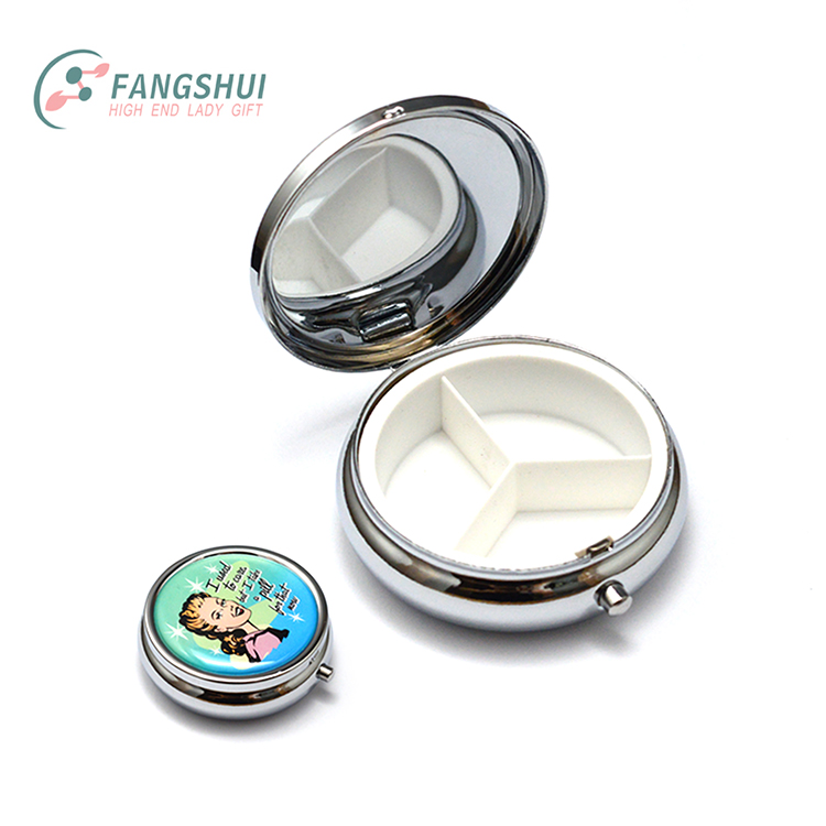 Custom food grade boite a pilule de poche 3 compartments big capacity pocket pill case metal medicine storage case pill box