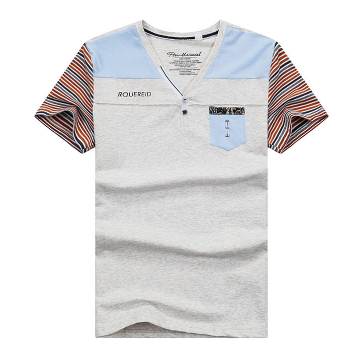 2015 Hot Selling Men's T-shirt Roman Fashion Style Jointed Colors Three Colors with Size M-XXL High Quality  MTS273