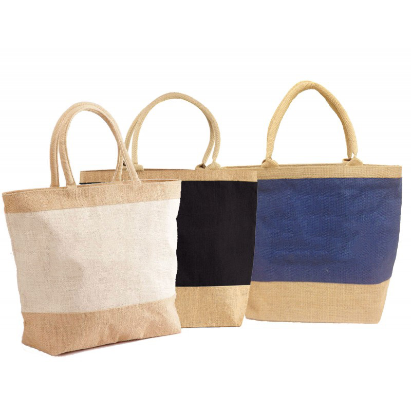 factory experience wholesale custom printed luxury jute tote bag with zipper for packaging