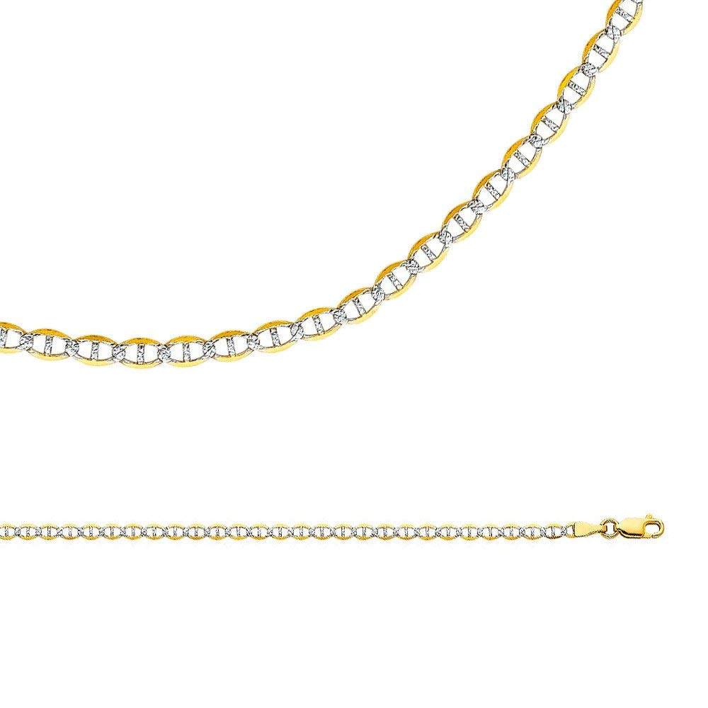 0f5657810bbb Get Quotations · Solid 14k Yellow White Gold Chain Mariner Necklace Anchor  Pave Flat Link Two Tone 3.4 mm