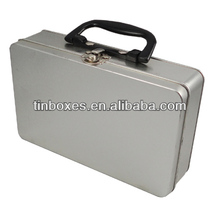 rectangle tool tin box with plastic handle and metal lock catch