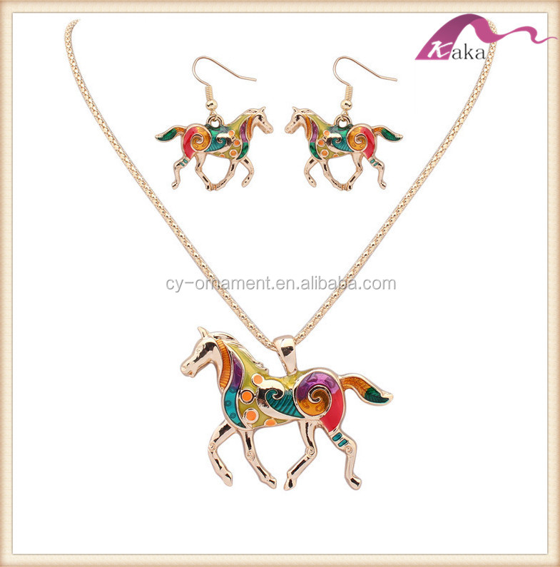 Fashion women horse animal charm pendant necklace and earrings jewelry set