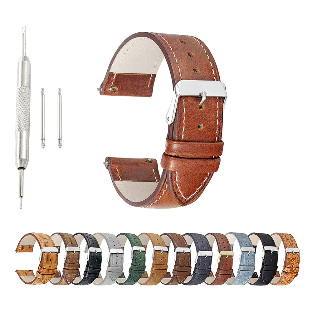 18/20/22mm Premium Quality Change Color Crazy Horse Genuine Leather Watch Band Watch Strap фото