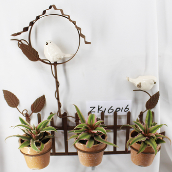 Outdoor Wall Hanging Ceramic Bird Rusty Iron Metal Plant Stand For 3 Flower Pots & Outdoor Wall Hanging Ceramic Bird Rusty Iron Metal Plant Stand For 3 ...