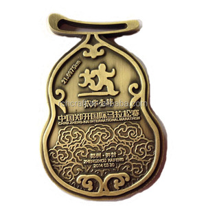 Antique gold 3D zinc alloy custom sports marathon running medals