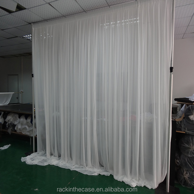 portable adjustable pipe stand and white chiffon drape