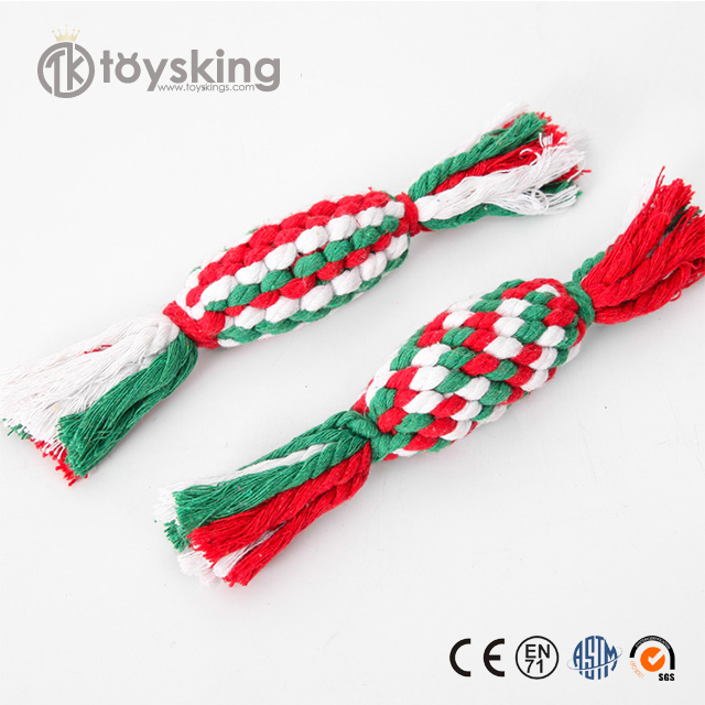 New candy color cotton rope dumbbell Christmas Candy Shape pet toys pet products Latex Dog Toy