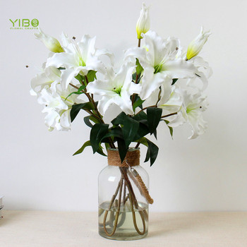 Hot Sale White Artificial Flowers London Long Stem PU Real Touch 3 Heads artificial tiger lily