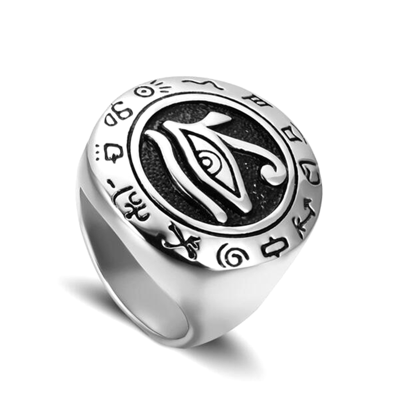 Factory direct custom design ancient egyptian symbol silver gold Eye of Horus rings stainless steel wedjat-eyes rings