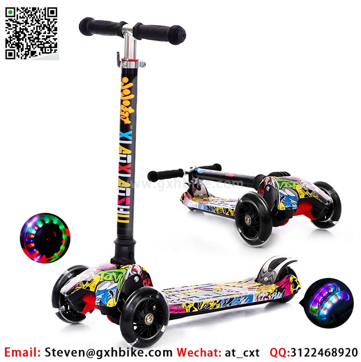 High Quality Stunt Kids Kick Push Scooter Foldable Jelly Smooth Shining Wheel