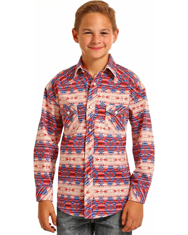 f6d490b56 Get Quotations · Rock & Roll Cowboy Boys Aztec Print Long Sleeve Snap Shirt  - B8s6039