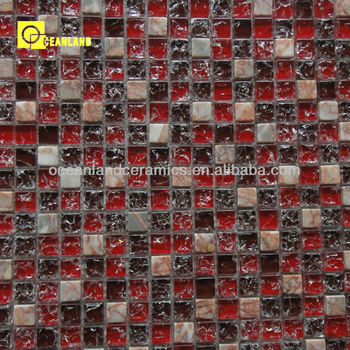 Bathroom Non Slip Red Glass Stone Tile Mosaic In China Buy Red - Ceramic and glass tile store