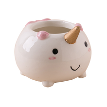 Cute Cartoon Mini Forma di Unicorno Animale di Ceramica Vaso Succulente Planter