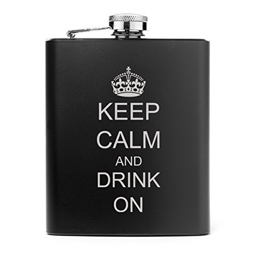 7oz Matte Black Stainless Steel Hip Flask Keep Calm and Drink On