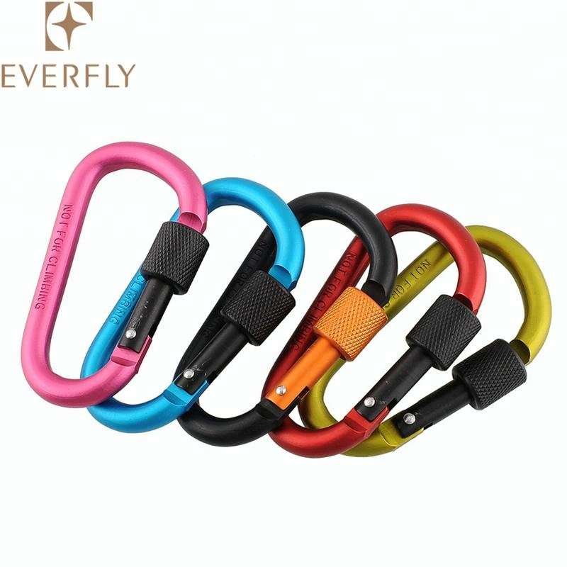 Colorful aluminum carabiner clip <strong>hook</strong> with screw lock