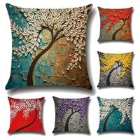 Throw Pillow Case U-LOVE Oil Painting Square Decorative Cushion Cover for 18 X 18 Inch