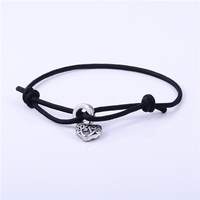 Adjustable black nylon rope bracelet with love heart shape pendant